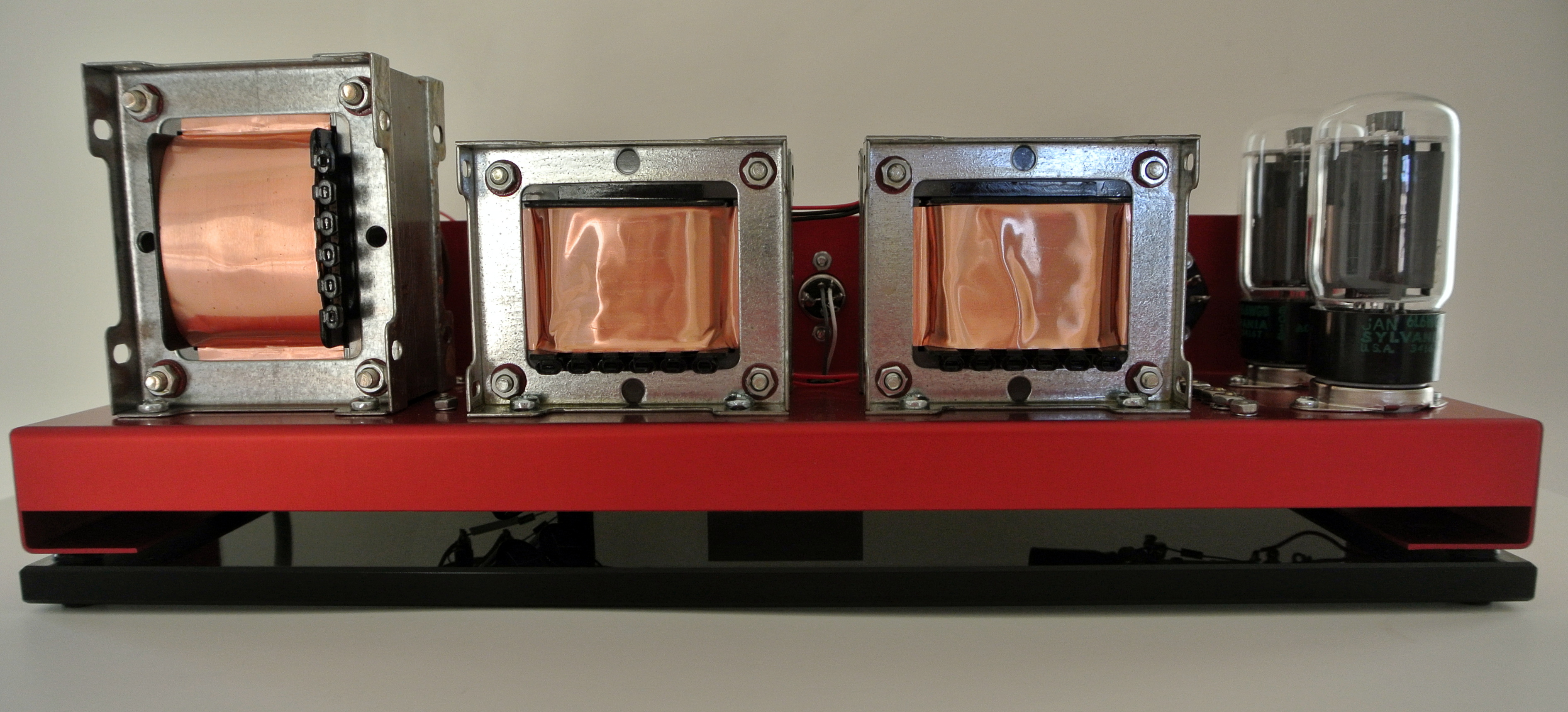 6L6 Tube Amplifier Set on Glass Plinth